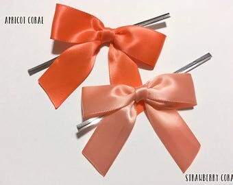 12 APRICOT or STRAWBERRY CORAL Pre-made Bow Embellishments