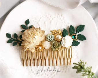 Gold Bridal Hair Comb, Greenery Wedding, Ivory Hair Adornment, Sage Green, Personalised Hair Slide, Bride, Bridesmaid Gift