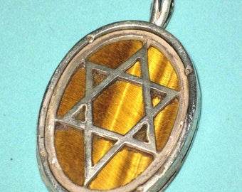 Vintage Old Sterling Silver TIGER EYE Reversible CHAI & Star of David Pendant Charm