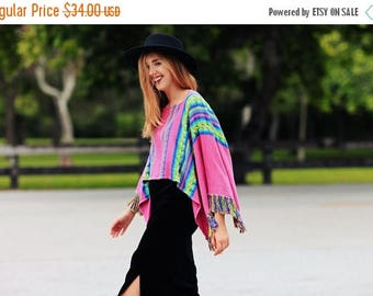 FLASH SALE 70s Colorful Poncho Vintage Knitted Pink Colored Poncho