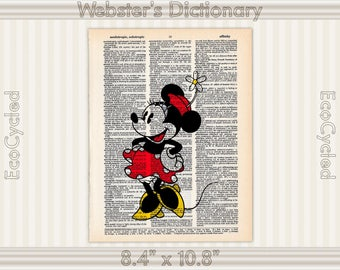 Classic Minnie Mouse Disney on Vintage Upcycled Dictionary Art Print Book Art Print bookworm gift book lover art classic nursery art
