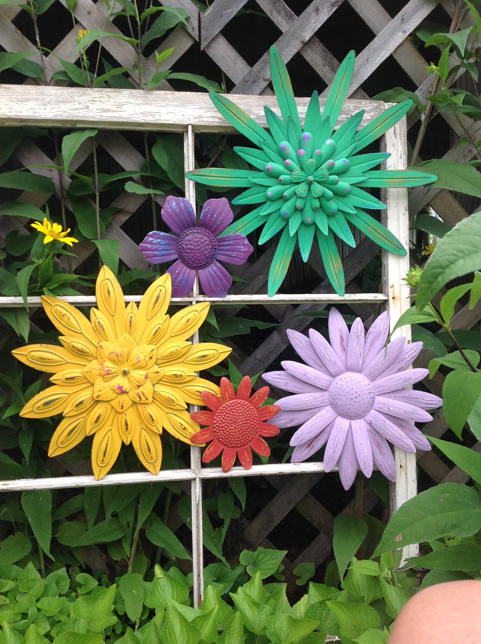 Bright Amp Colorful Metal Flower Wall Fence Art Set Of 5