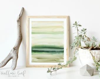 Earthy Greens, Minimal, watercolor print, wall art