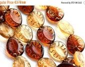 ON SALE Amber Topaz beads mix, czech glass, oval beads, Golden inlays, teardrop shape, pear - 17x14mm - 8pc - 1978