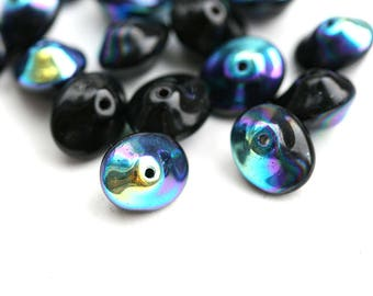 Black Saucer beads, Rainbow finish, UFO shape, Czech glass black pressed chunky bicone beads, 7x11mm - 20Pc - 1701