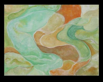 """Abstract Paining: Eddies at the shore 24"""" X 18"""""""