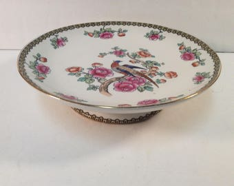 """F. Winkle and Co. Whieldon Pheasant 9"""" Pedestal Cake Dish Stand"""