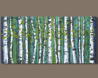 FREE SHIP abstract painting, birch trees painting, panoramic painting, forest painting, landscape painting, green art on canvas, aspens