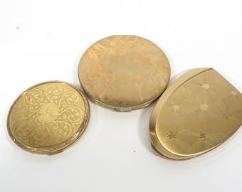 Vintage Set of 3 1960s Ladies Compact Mirrors - 3 Gold Tone Brass Compacts with Mirrors