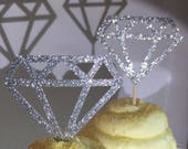 12 Silver Diamond Diamonds  Cupcake Toppers Topper Wedding Bride Engagement Ring