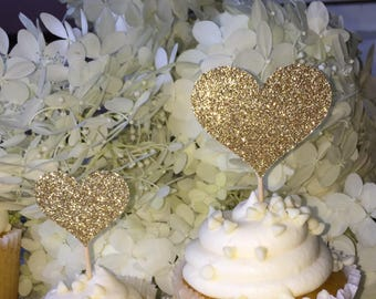 120 Gold Cupcake Toppers Heart Cupcake Toppers Cake Decorations