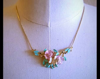 Vintage floral and butterfly necklace