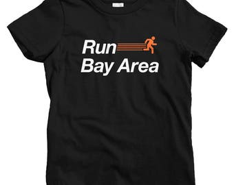 Kids Run Bay Area V2 T-shirt - Baby, Toddler, and Youth Sizes - Kids Tee, Bay Area Running Kids, Bay Area Jogging Kids, San Francisco Kids
