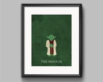 Star Wars The Empire Strikes Back - The Mentor - Yoda Art Print - poster, jedi, force, star wars, minimalist