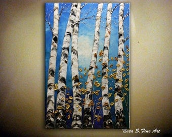Original Birch Forest, FREE SHIPPING, Palette Knife, Blue Birch Forest, Aspen Tree Art, Home & Office Wall Decoration, Large Art  by Nata S.