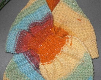 SCARF KNIT LEAF HANDMADE MULTICOLOR WOOL YARNS
