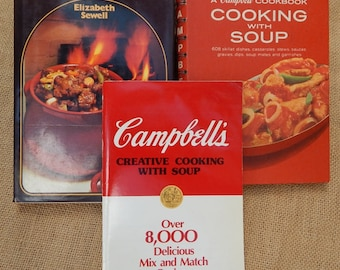 Cookbooks  ~  Lot of 3 Cookbooks  ~  Cambell's Cooking With Soup  ~  Casserole Cookbook  ~  Campbell's Creative Cooking with Soup