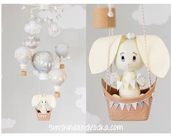 Woodland Theme Baby Mobile, Hot Air Balloon, Bunny Mobile, Taupe, Gray and Ivory Gender Neutral Nursery Mobile, i249