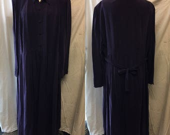 Vintage retro Purple eggplant color dress 1980 Xlarge large