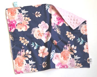 LOVEY - Kennedy - Baby girl security cotton minky blanket pink coral navy white mint watercolor purple floral flowers personalized embroider