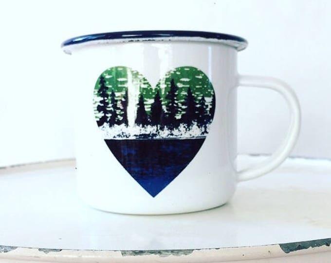Camp Mug, Lake Life, Up North  Outdoor Adventurer White Mug Enamel Mug