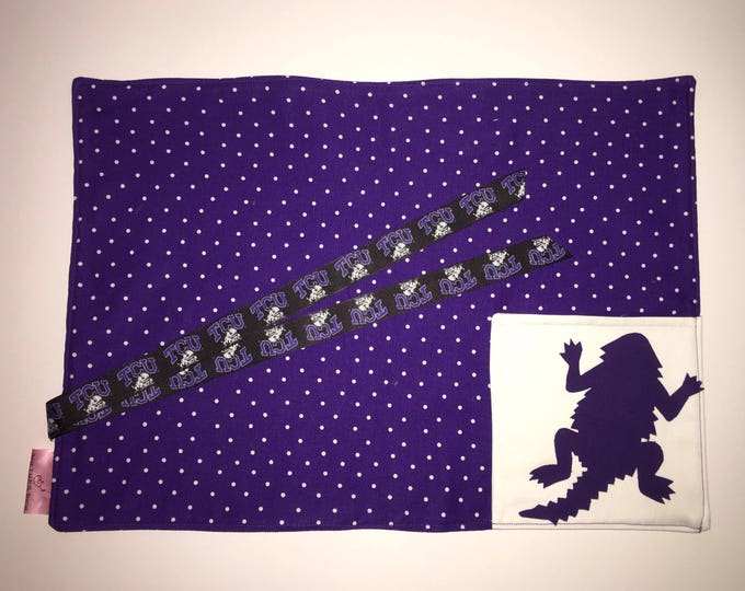 TCU Pocket Placemat for Tailgating Lunchmat Travel placemat Pocket Placemat TCU linens Toddler Placemat