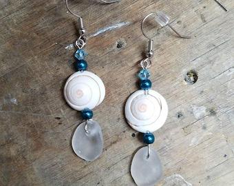 Beach Glass and Shell Earrings