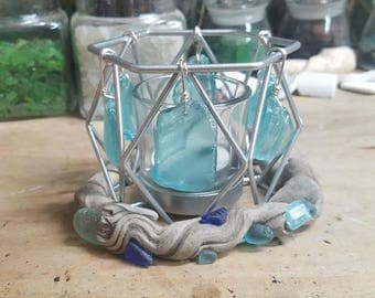 Beach Glass and Driftwood Candle Holder