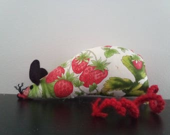 Hand Made Catnip Mouse - Juicy Strawberries - Cat Toy