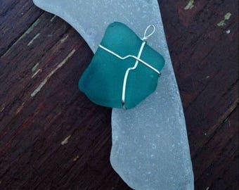 Seafoam Seaglass Sterling Pendant