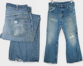 1950s ELY and WALKER Distressed Work Wear Carpenter Jeans 33 x 28.5