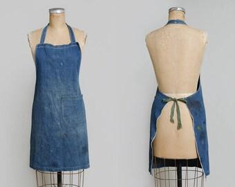1940s Indigo Selvedge Denim Shop Apron Work Wear Garment