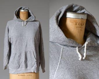 70s Grey Hooded Sweatshirt Cotton/Poly Athletic Hoodie Sweatshirt