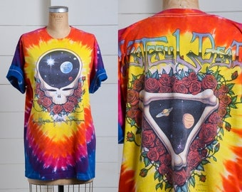 1992 Grateful Dead Space Your Face Tie Dye Hippie Steal Your Face Skull Rainbow Tee