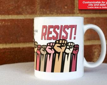 Women's March Anniversary 2018 Customizable Coffee Mug Cup Gift Present Woman Female Trump Souvenir Protest Resist w 4 dollar donation