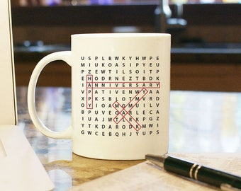 Anniversary Day Gift Present Custom Personalized Word Search Coffee Mug Cup Home Decor White Boyfriend Girlfriend Husband Wife 2 Sides