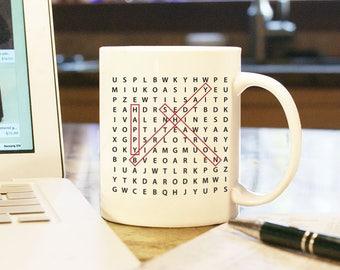 Happy Birthday Gift Present Custom Personalized Word Search Coffee Mug Cup Home Office Decor White Boyfriend Girlfriend Husband Wife 2 Sides