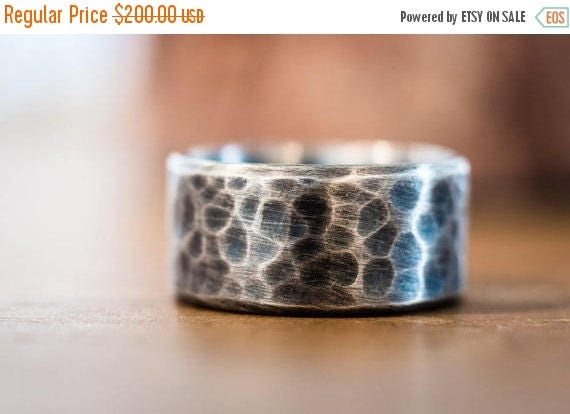 ON SALE Mens Wedding Band - Mens Wedding Ring - Sterling Silver Wedding Ring - Hammered Wedding Band - Wedding Rings - Mens Gift - Handmade