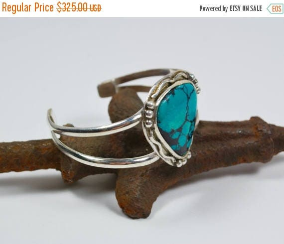 ON SALE Turquoise Bracelet-Sterling Silver Genuine Turquoise Cuff Bracelet-Real Turquoise Bracelet-Gift for Her or Him-Boho Bracelet-Boho Je