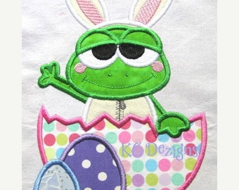 ON SALE Easter Frog With Broken Egg Machine Applique Embroidery Design - 4x4, 5x7 & 6x8