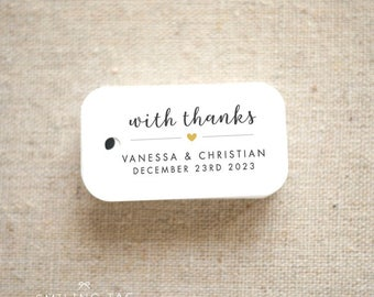 With Thanks Wedding Favor Tags - Personalized Gift Tags - Bridal Shower - Thank you tags - Party Tags - Favor Bag Tag (Item code: J732)