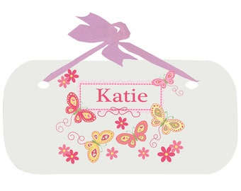Personalized Girls Door Sign with Yellow Butterflies Design-wplaq-pin-300d