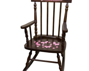 Personalized Espresso Childrens Rocking Chair with Pink Butterflies Design-spin-esp-300a