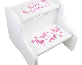 White Large STEP Stool with Butterflies Personalized Pink Butterfly Design Childu0027s Stepstool White Two Steps Toddleru0027s  sc 1 st  Etsy & Pink stool | Etsy islam-shia.org
