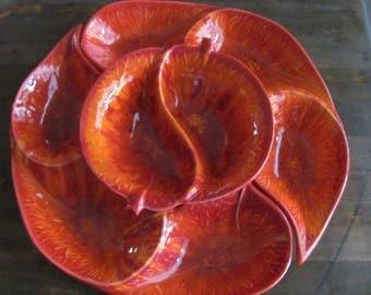 Vintage California Pottery Orange Lazy Susan Chip Dip Set Mid Century Excellent