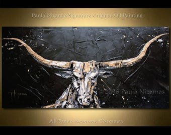 Bull Painting on canvas heavy palette knife texture Home Decor animal black golden white