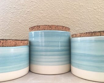 Handmade ceramic canister set of 3