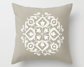 36 colours, Taupe, Persian Glaze Pillow, Folk Motif, Flower Pattern, White floral design, Faux Down Insert, Indoor or Outdoor options