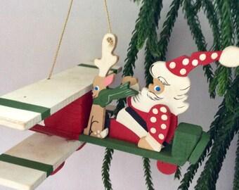 Hawaii - Emgee - Santa - Merry Christmas - Holiday Decor - Bi-plane - Christmas Ornament - Gift idea - hand painted ornament - collectible