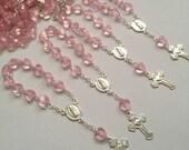 10 pcs  First communion favors / Mini  pink Rosary Baptism Favors / Baptism favors / Religious Mini Rosary / Narelo